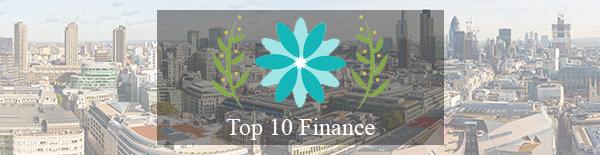 Top 10 Finance logo against London skyline