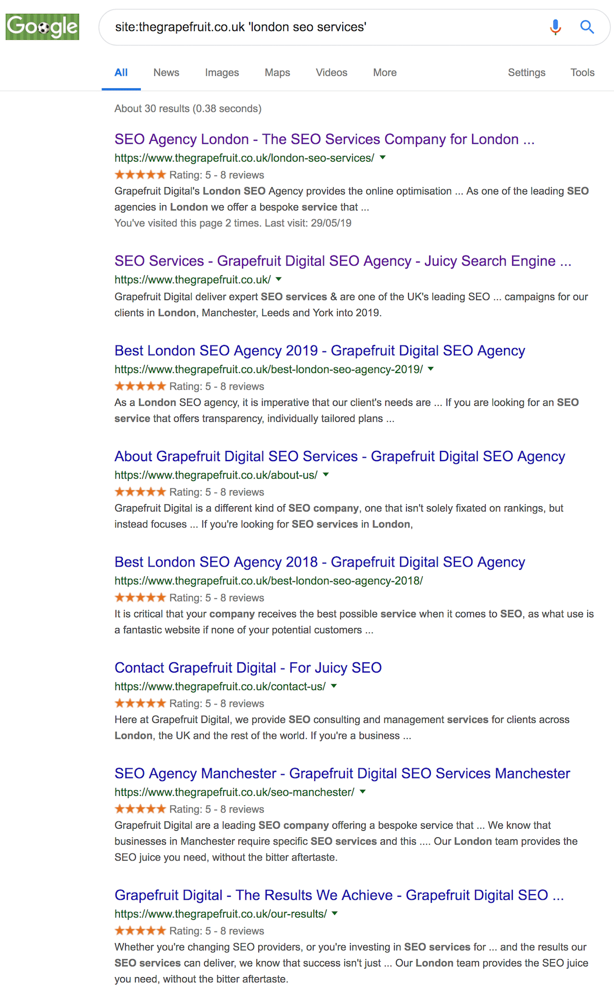 Internal Linking Search Results